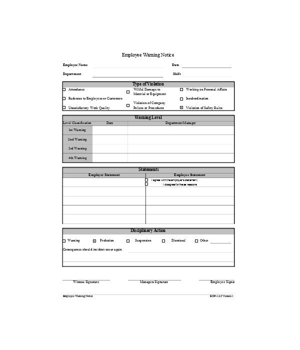 simple employee warning notice form