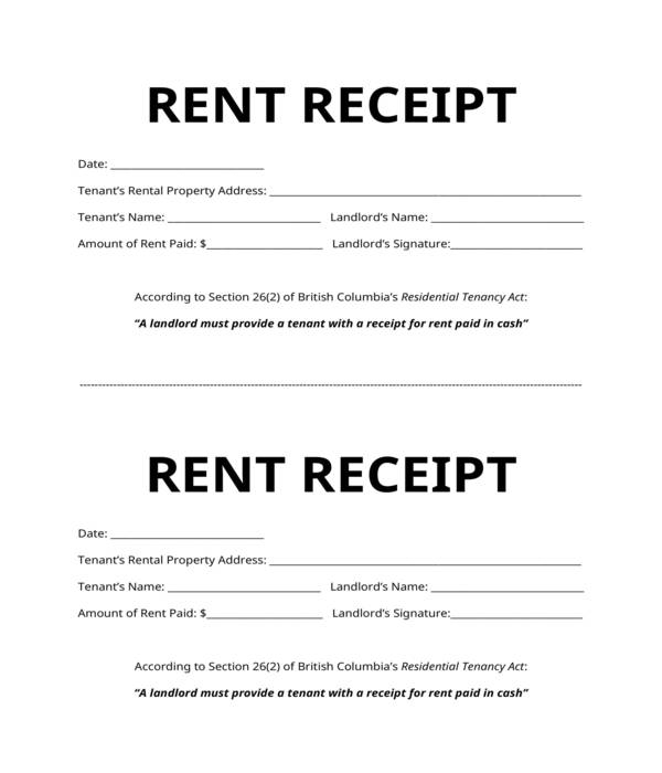simple rent receipt form template