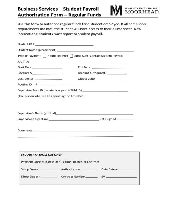 student payroll authorization form