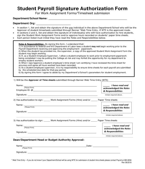 student payroll signature authorization form