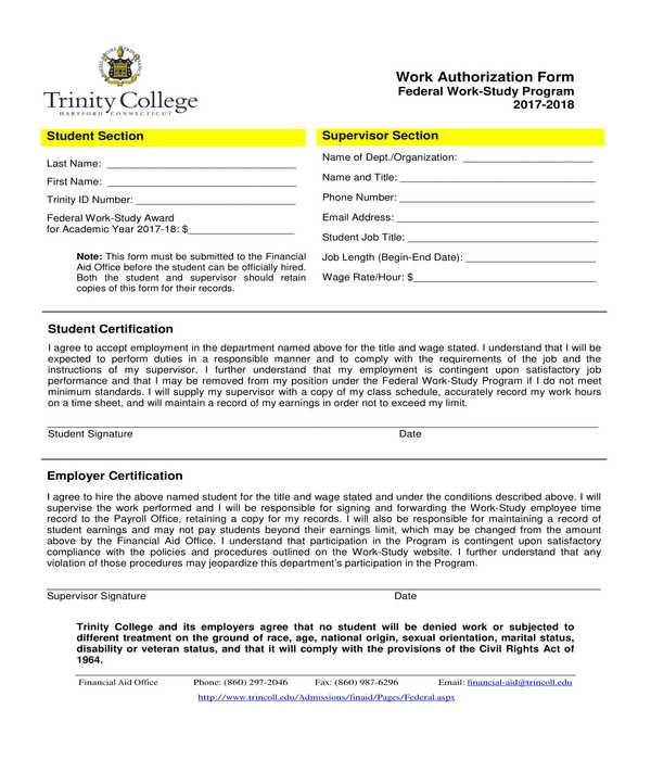 student work authorization form
