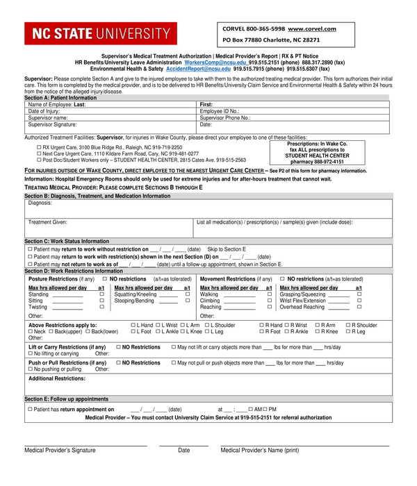 supervisor's medical treatment authorization form