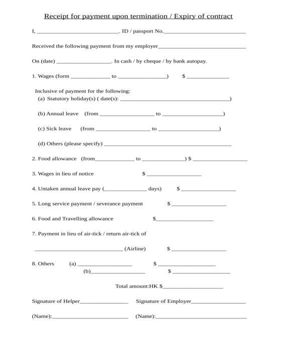 termination salary cash payment receipt form template