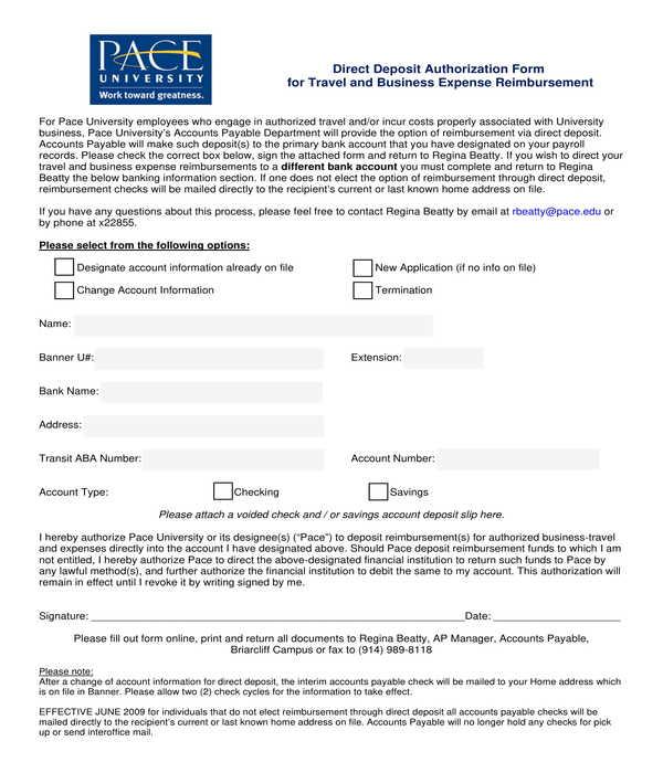 travel expense direct deposit authorization form