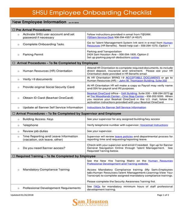 university employee onboarding checklist form