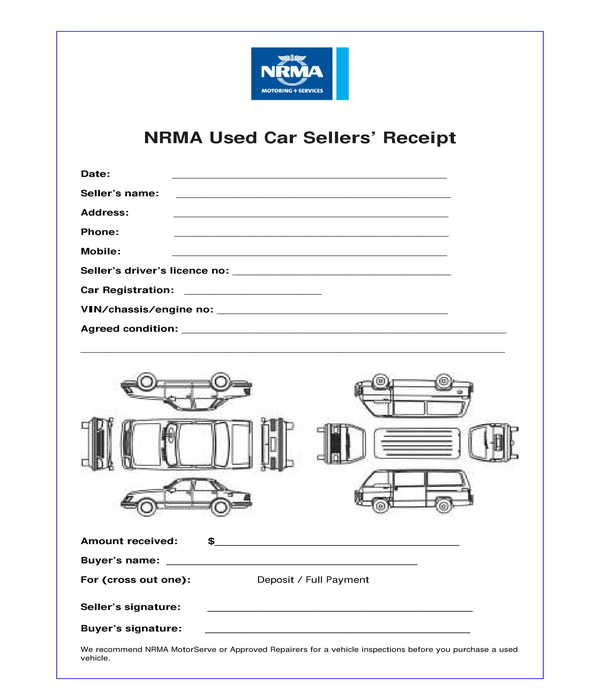 used car payment receipt form template