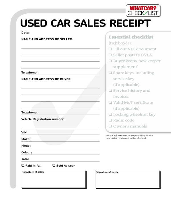 used car sales receipt form template