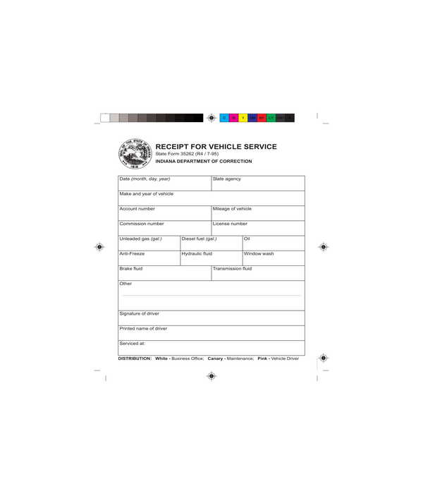 vehicle service receipt form template