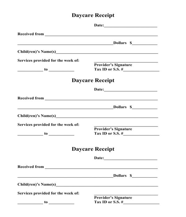 weekly daycare receipt template form