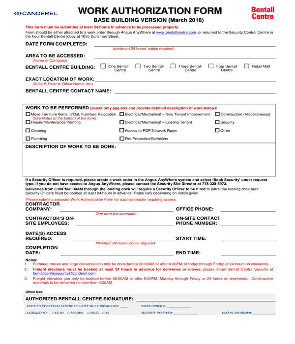 work authorization form sample