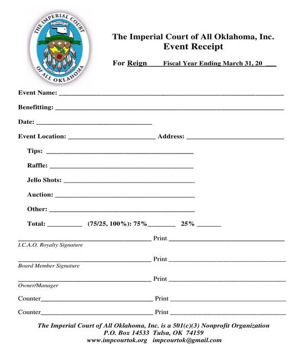 year end event receipt form template