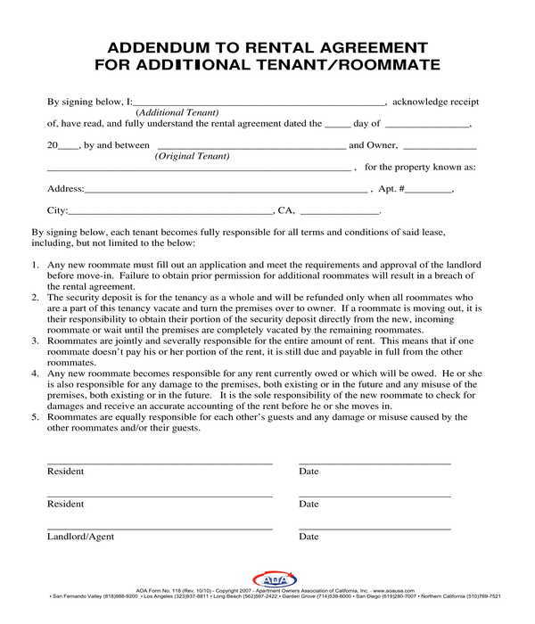 additional roommate rental agreement addendum form