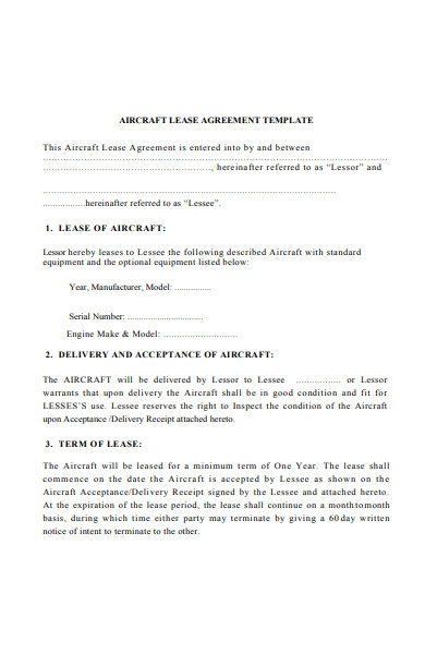 aircraft lease agreement template