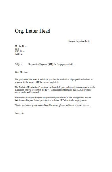 application tenant rejection letter