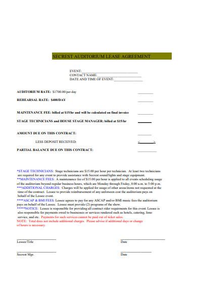 auditorium lease agreement