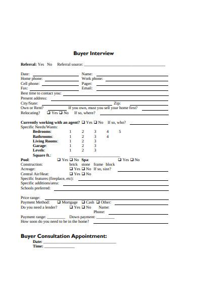 basic buyer information form