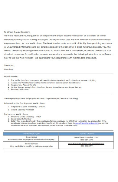 basic employment verification letter