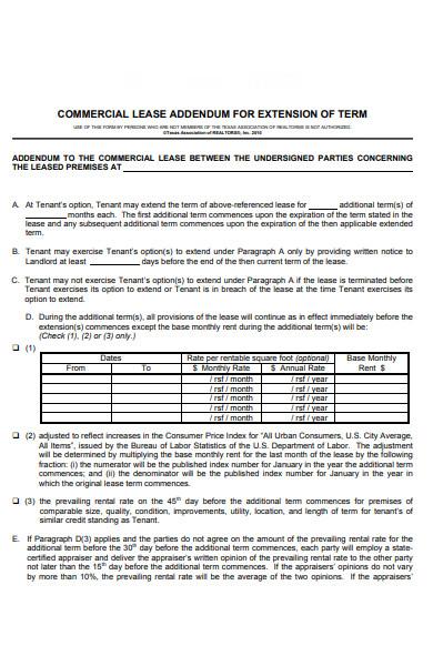 basic lease extension addendum form