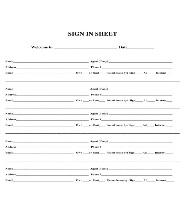 basic real estate open house sign in sheet