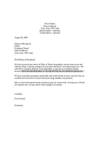basic rent increase letter