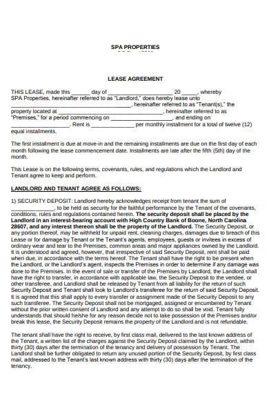 basic spa lease addendum form