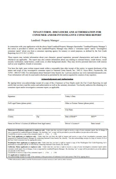 basic tenant disclosure form