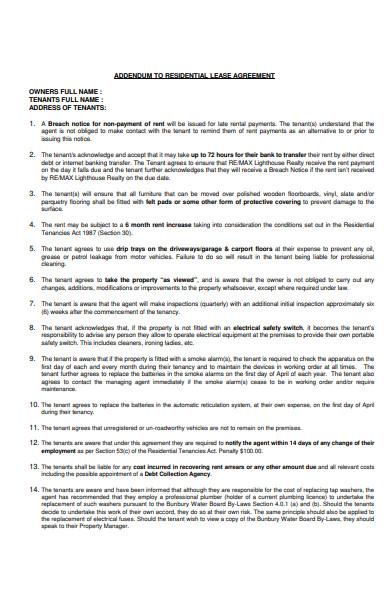 basicresidential lease addendum form