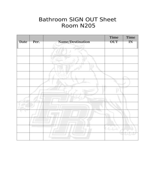 bathroom sign in out sheet in doc
