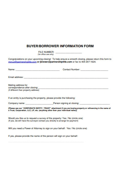 borrower information form