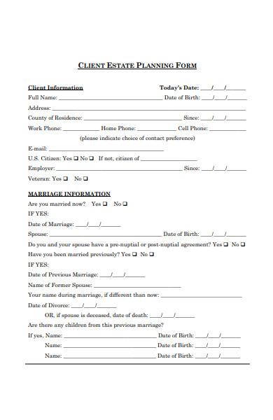 client estate planinng form1