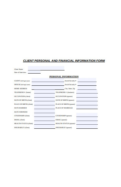 client financial information form