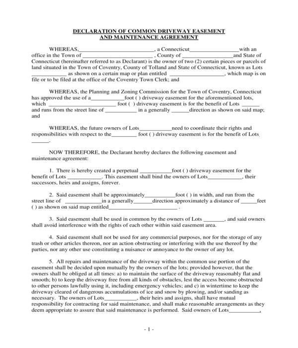 common driveway easement declaration form