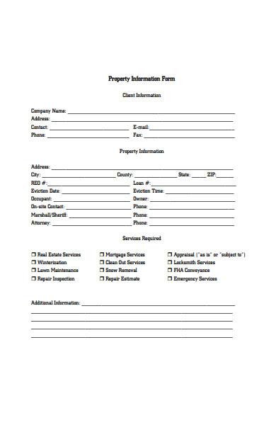 company property information form