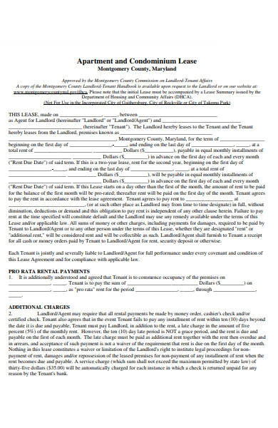 condo lease form