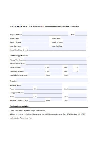 condominium lease application form
