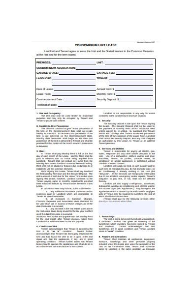 condominium lease unit form