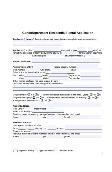 condominium rental sample or form