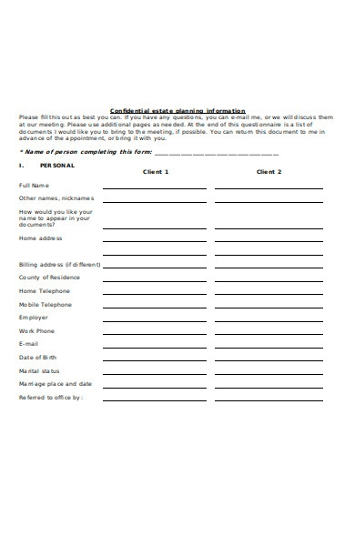 confidentiality planning information form