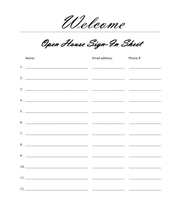 creative real estate open house sign in sheet