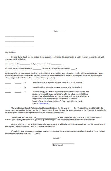 dispute rent increase letter