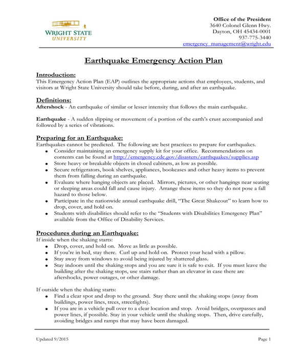 earthquake emergency action plan form template