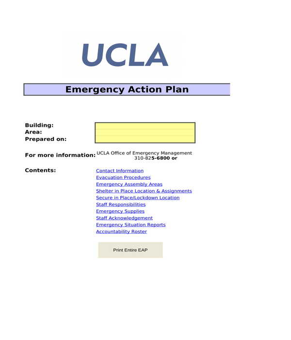 emergency action plan form template in xls