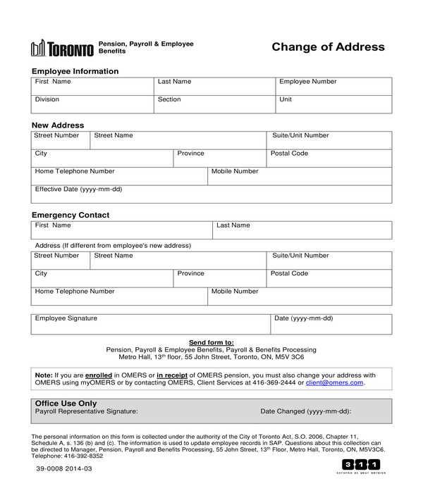 employee payroll address change form