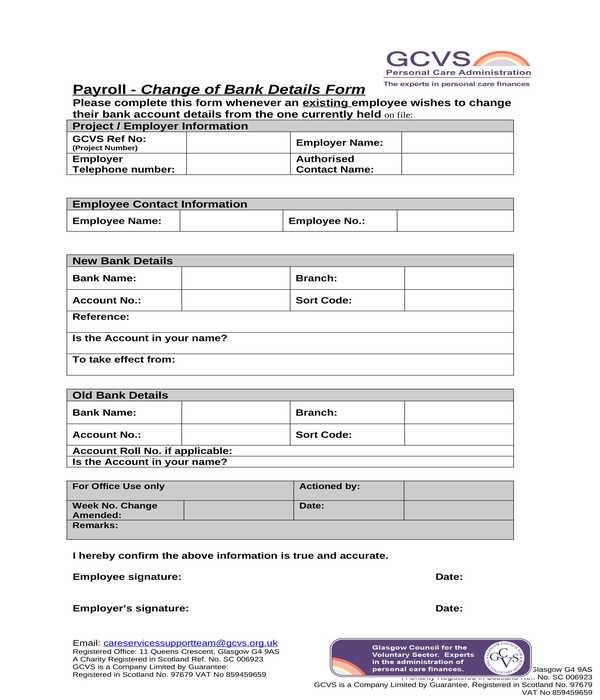 employee payroll bank details change form