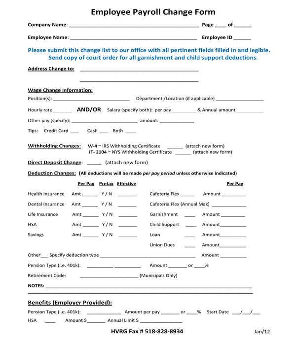 employee payroll change form sample