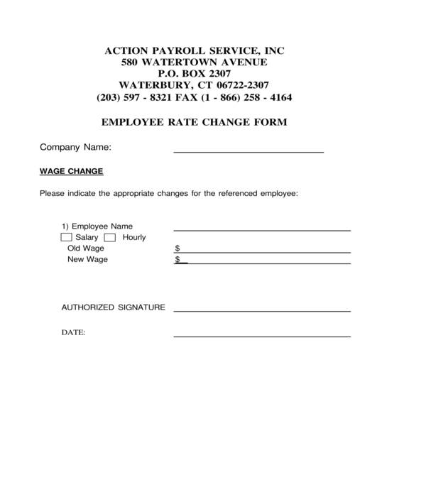 employee payroll rate change form