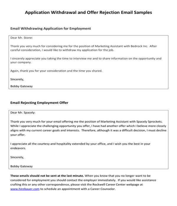 employment applicant withdrawal rejection letter template
