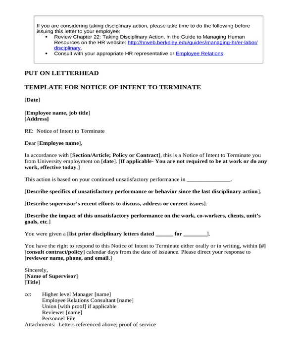 employment contract notice to terminate letter
