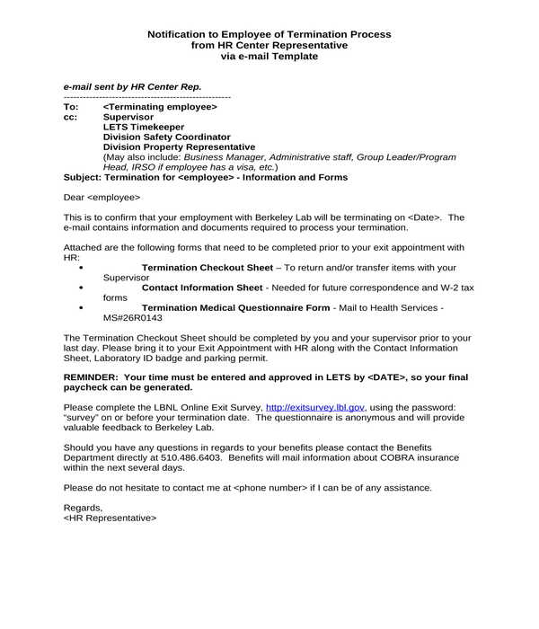 employment termination process notice letter