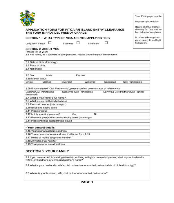 entry clearance application form